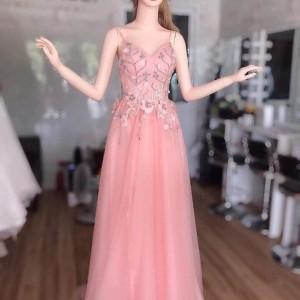 Manocanh đầm hồng dài tay dang ASR16